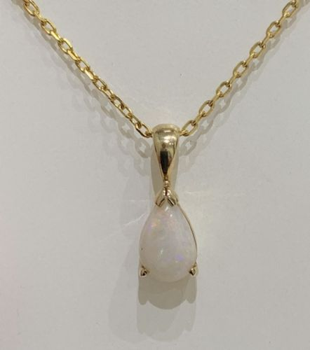 Opal Yellow Pear Shaped Gold Necklace